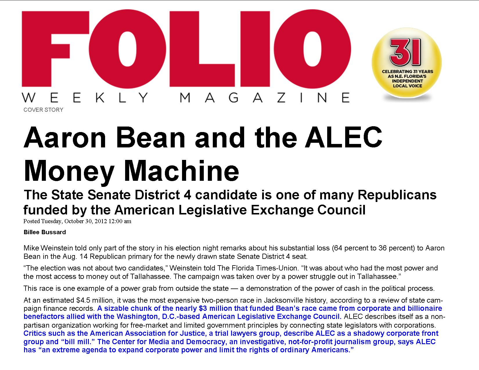 Aaron Bean and the ALEC Money Machine