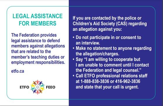 ETFO Legal Assistance