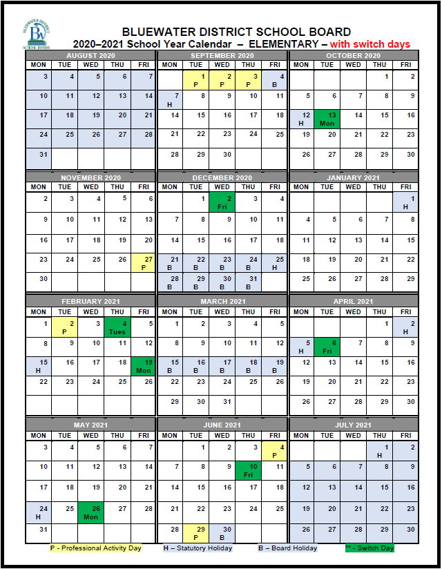 2020 2021 Switch Day Calendar