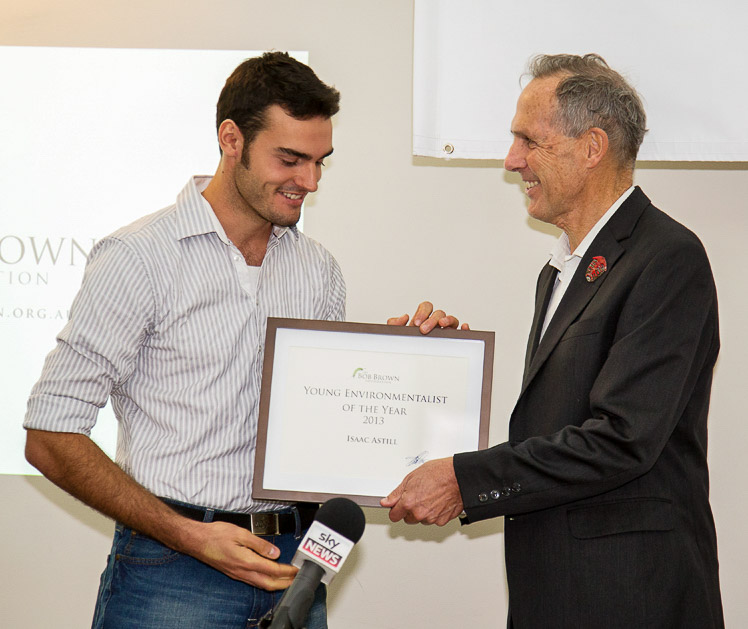 Isaac being awarded Young Environmentalist of the Year by Bob at the ceremony in Hobart on 1st July 2013.