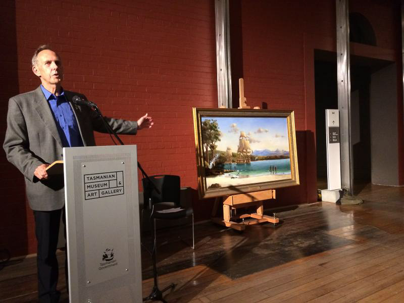 Bob presenting the painting to TMAG