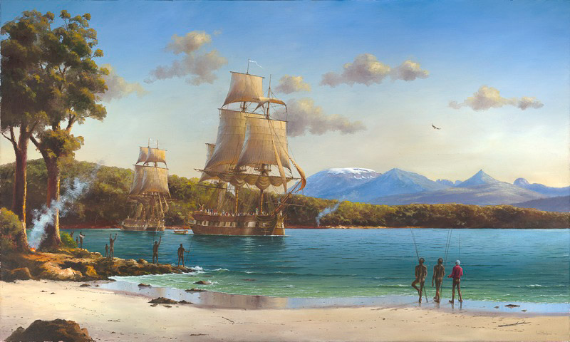 Ian Hansen, The Lyluequonny People Farewell D'Entrecasteax's Ships