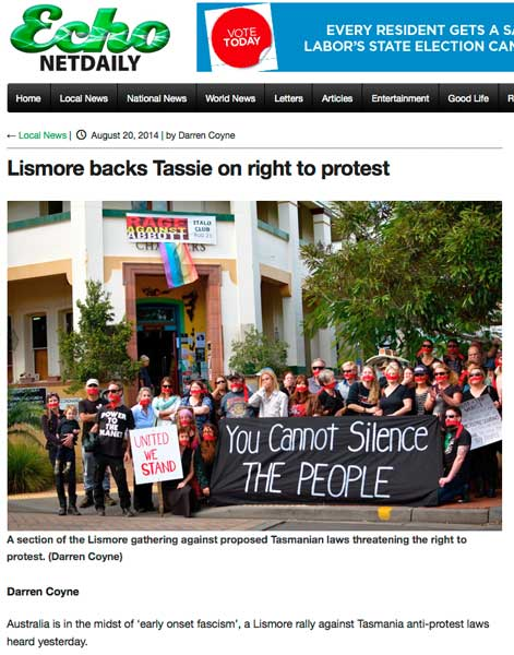 Lismore backs Tassie right to protest