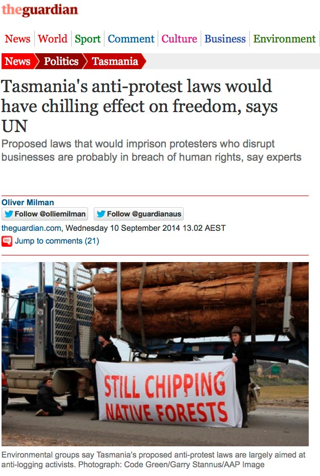 Tasmania's anti-protest laws would have chilling effect on freedom, says UN