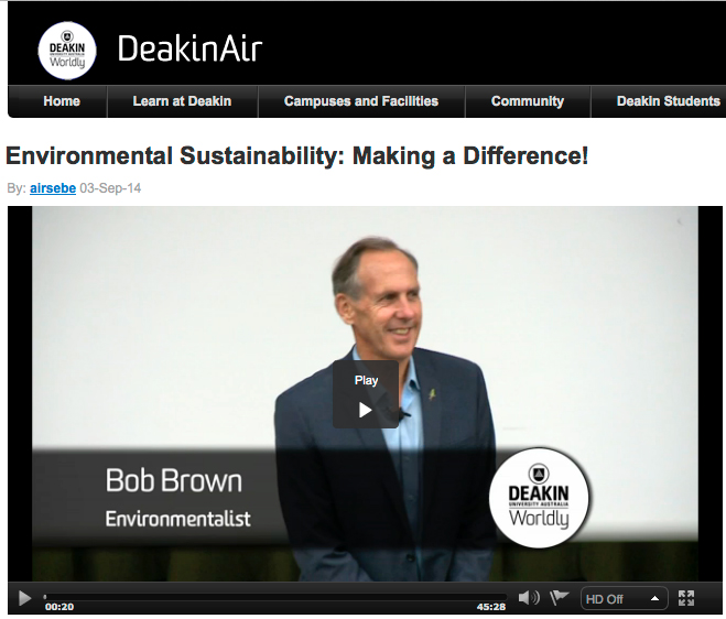 Bob Brown, Environmentalist, presents \