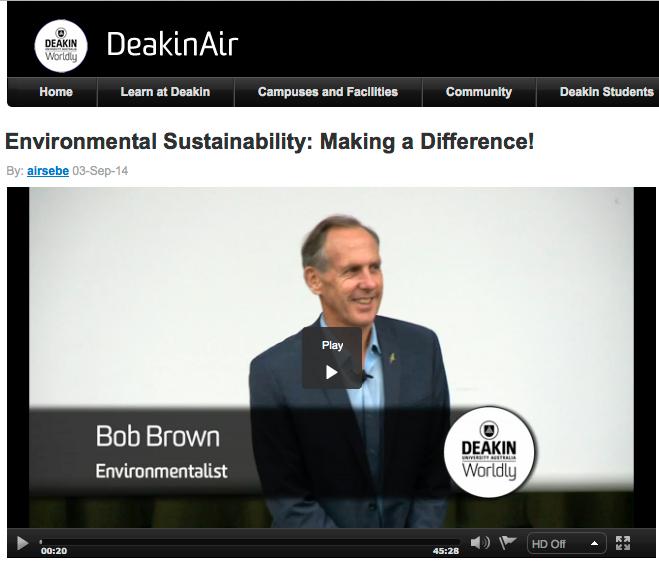 Bob Brown, Environmentalist, presents \