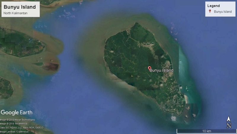 The mining operations of Adani's subsidiary can be seen on the mid south-east coast of Bunyu island.  Photos by Google Earth.