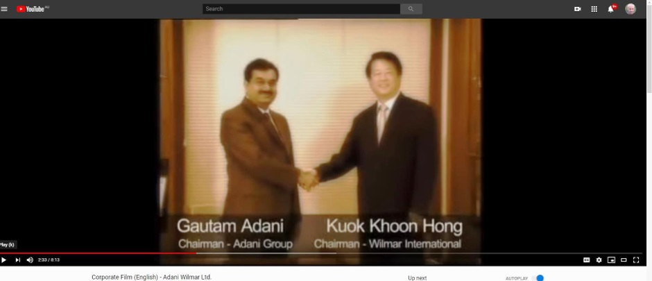 Corporate video showing Gautam Adani, the head of the Adani group, with the head of Wilmar, one of the world's biggest traders in palm oil.