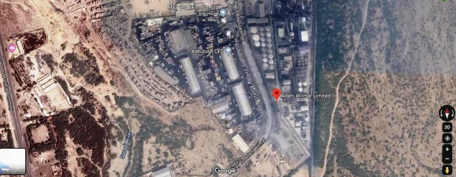 Adani Wilmar's palm-oil refining operation at Adani's Mundra port (Google Earth)