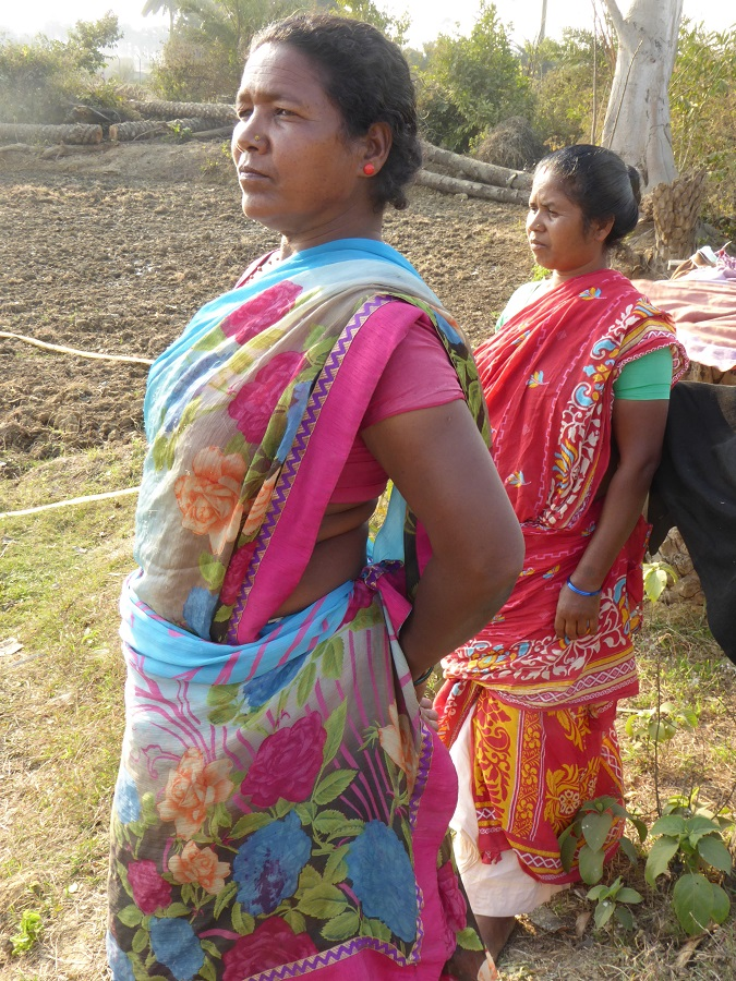 Sita Murmu and a relative look across at the destruction of their lands by Adani's Godda power plant. They are standing at the site of a confrontation between farmers and Adani in 2018 when Sita threw herself at the feet of the Adani official carrying out the confiscation of their lands. Photo by Geoff Law.