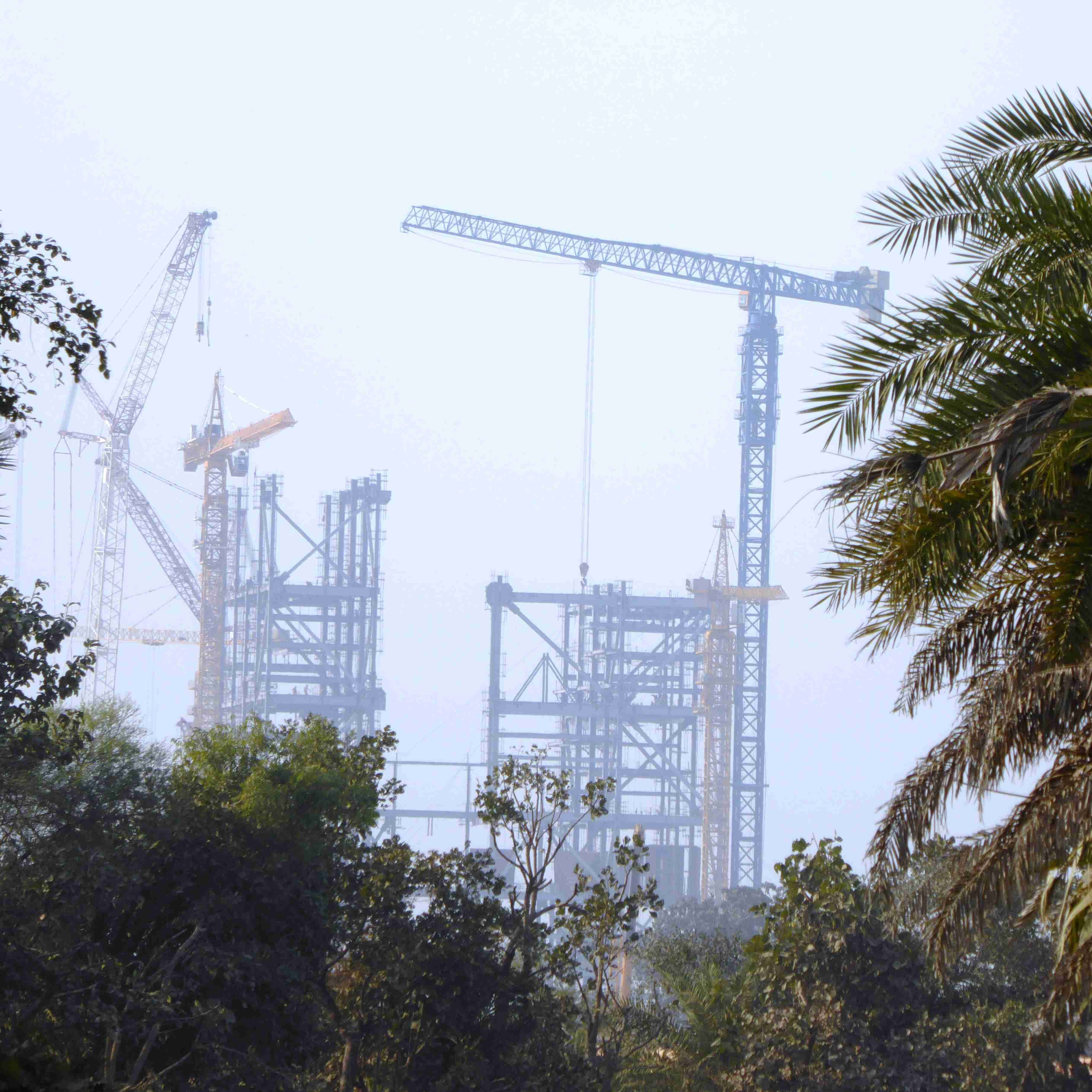 Skeleton of Adani's Godda power station, February 2020. Photo- Geoff Law