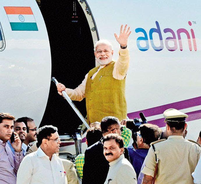 Prime Minister Modi notoriously used Gautam Adani's private plane while on the campaign trail in 2014.