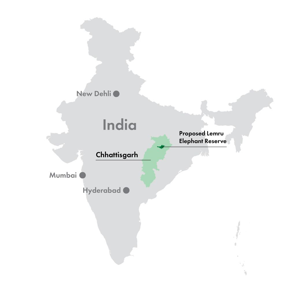 Location of Chhattisgarh and the proposed Lemru Elephant Reserve. Map by AdaniWatch