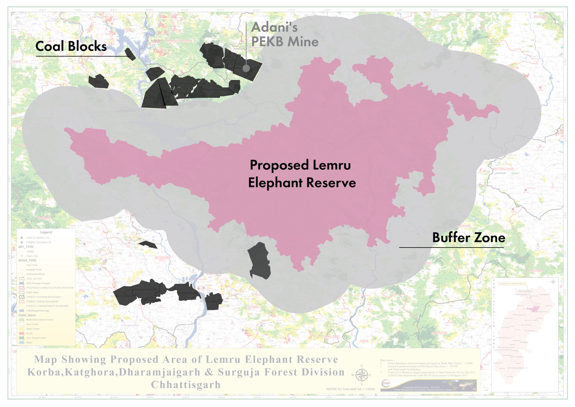 Simplified map of proposed Lemru Forest Reserve, based on high-resolution official map.