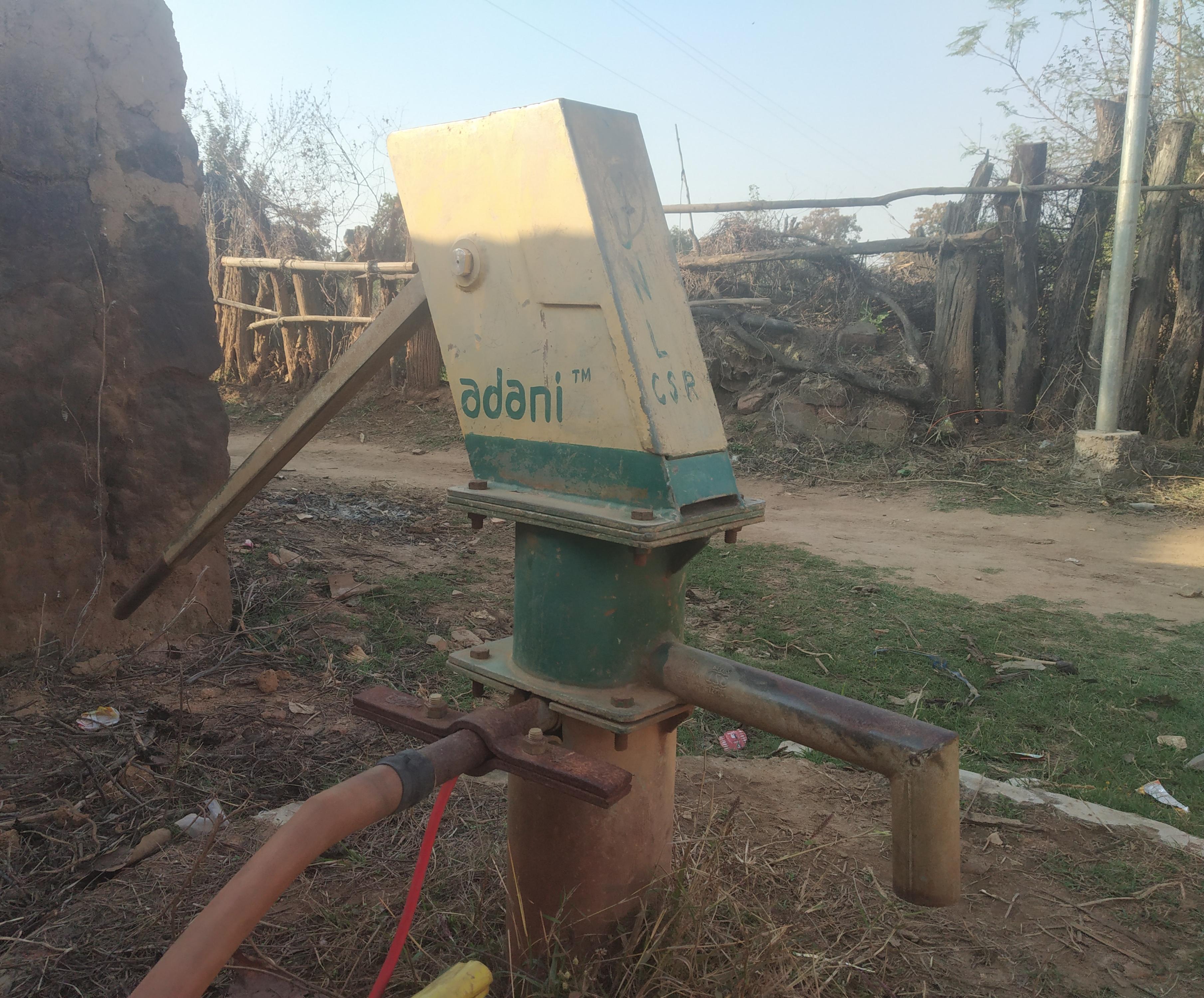 Adani-branded water pump at a local home. Photo Abir Dasgupta