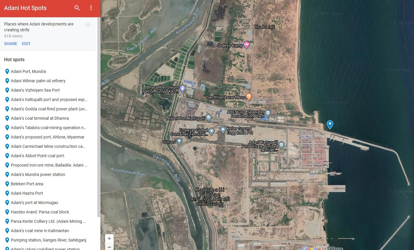 Adani's Kattupalli port, north of Chennai. Photo Google