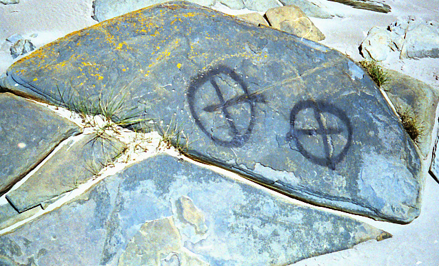 Vandalised rock art