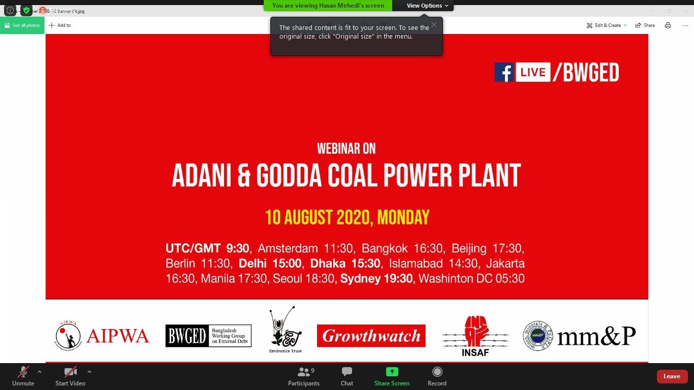 Webinar about impacts of Adani's Godda power station