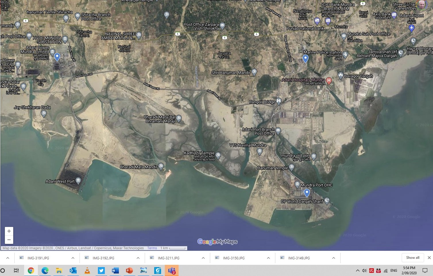 Aerial image of Adani's Mundra port and industrial complex. Photo by Google