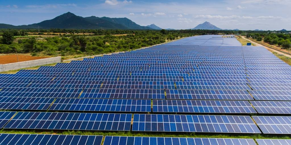 A massive solar-energy installation in India. Photo WikiMedia Commons