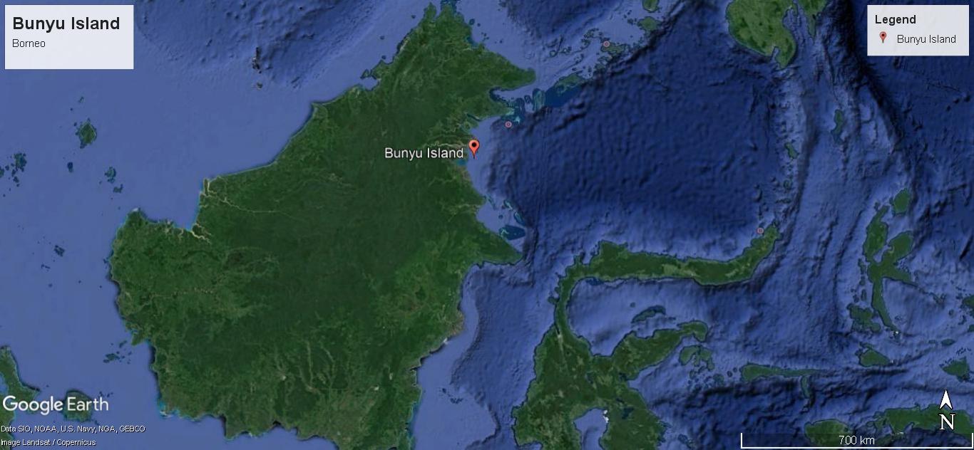 Bunyu lies off the coast of North Kalimantan, Borneo