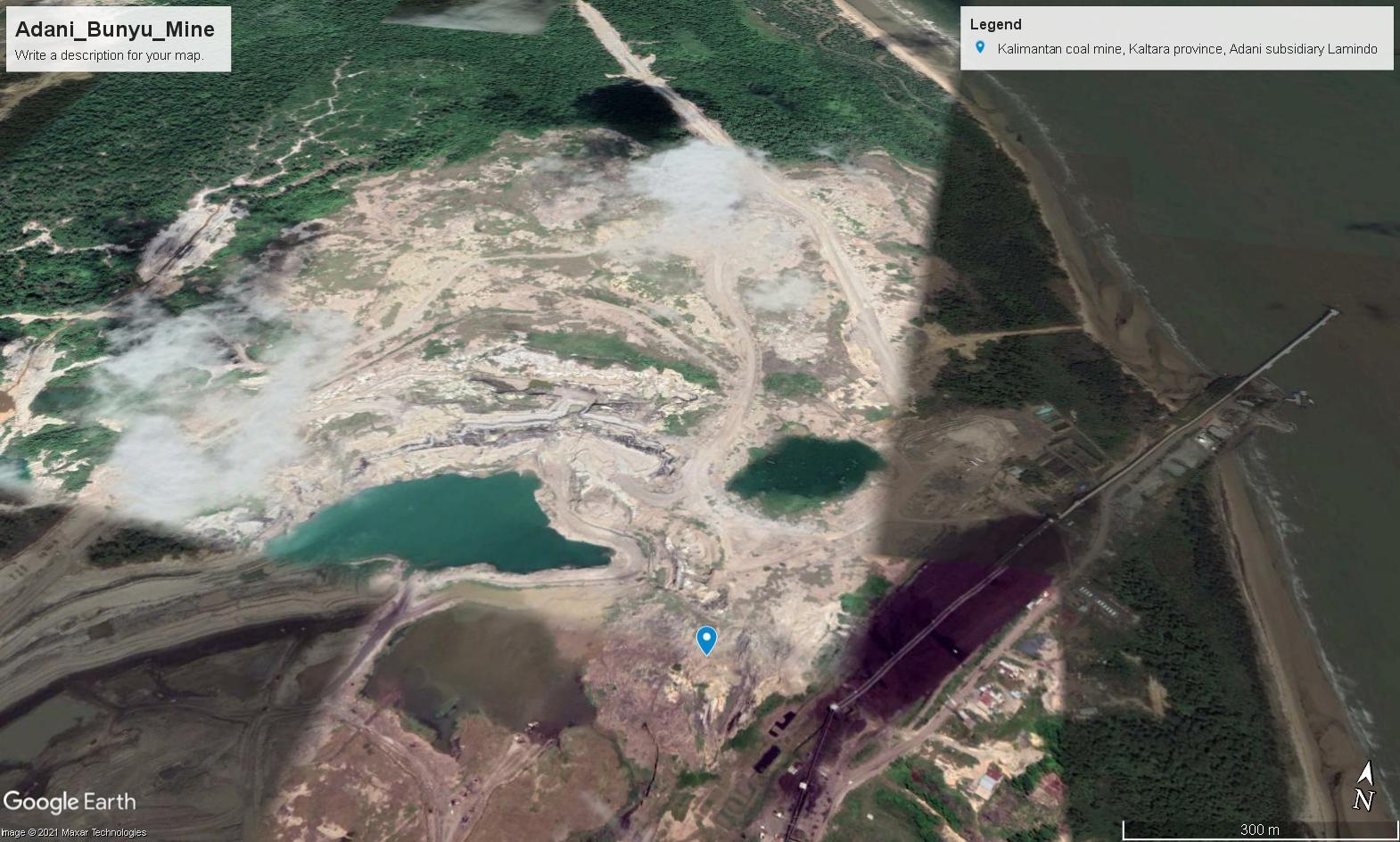 Adani's Bunyu coal mine, North Kalimantan. Photo Google Earth