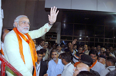 Indian PM Narendra Modi at Ahmedabad airport - one of the six airports leased to the Adani Group. Photo Wikimedia Commons