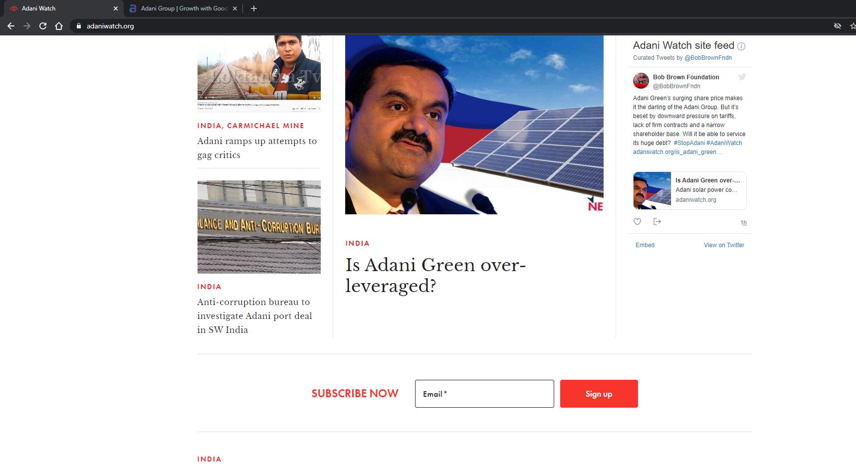 Screenshot of AdaniWatch website, 7 January 2021