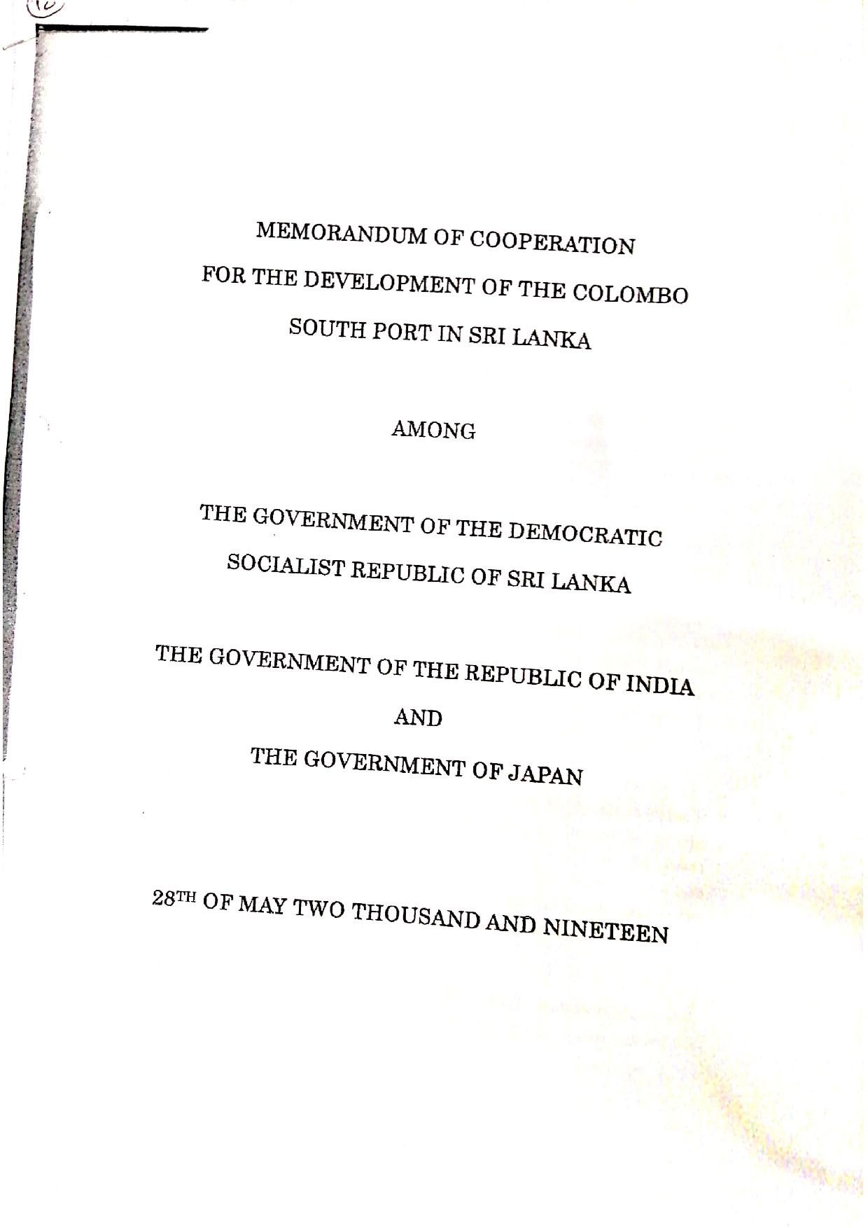 May 2019 Sri Lanka Cabinet Memo p.1