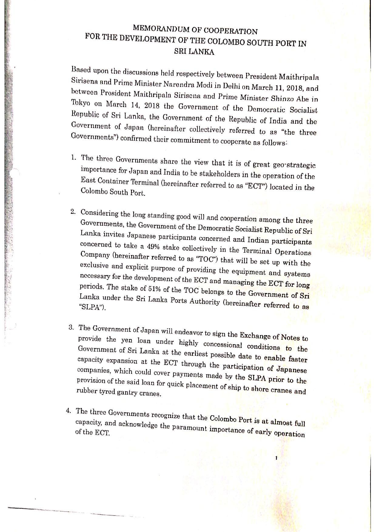 May 2019 Sri Lanka Cabinet Memo p.2