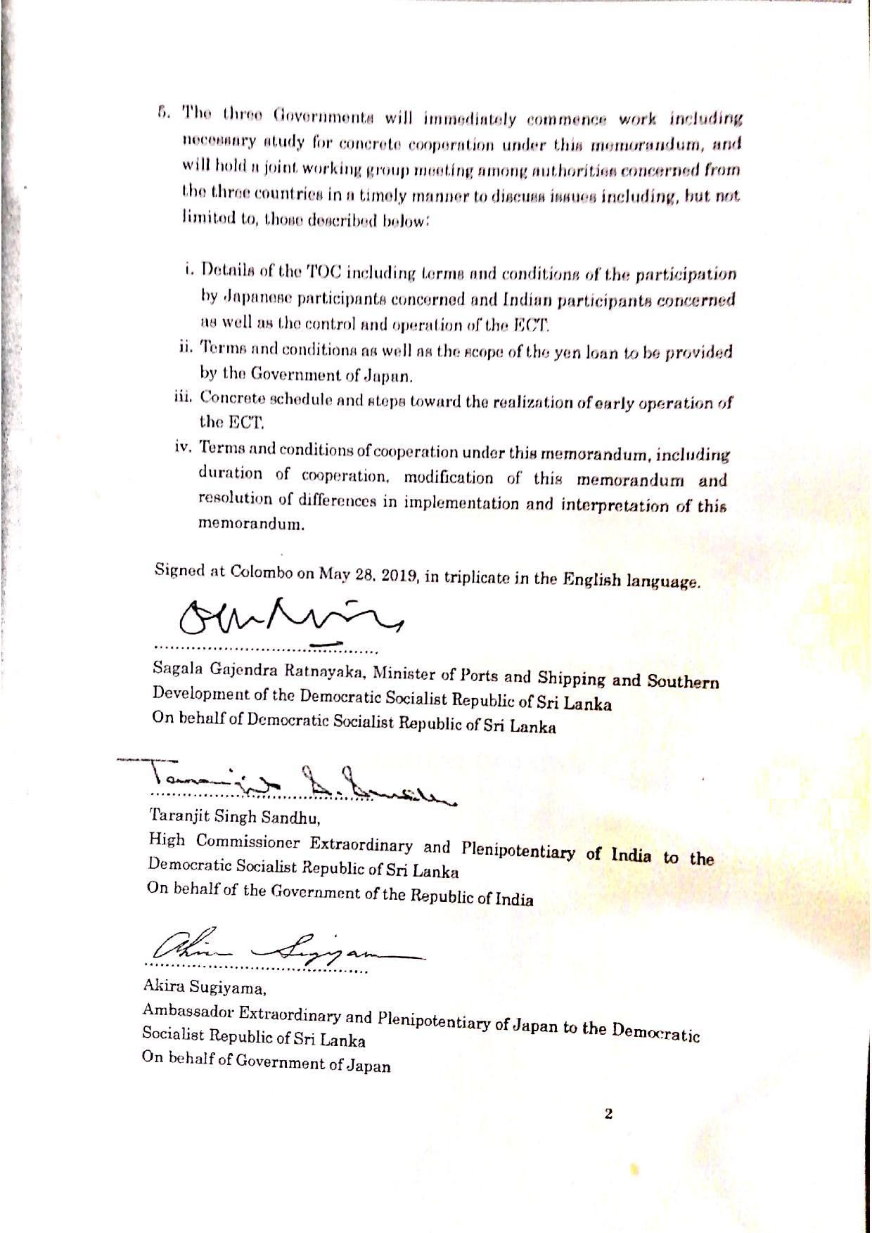 May 2019 Sri Lanka Cabinet Memo p.3
