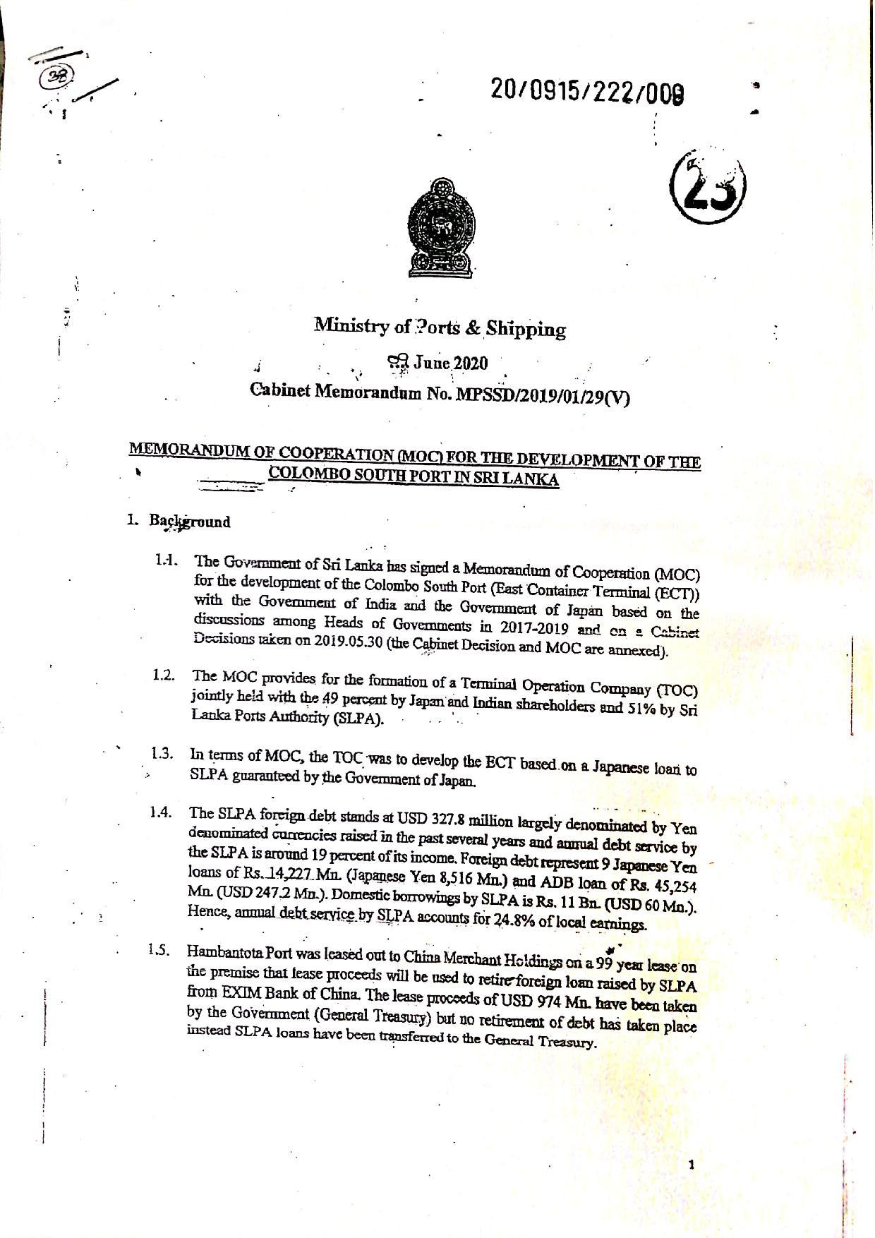 June 2020 Sri Lanka Cabinet Memo p.1