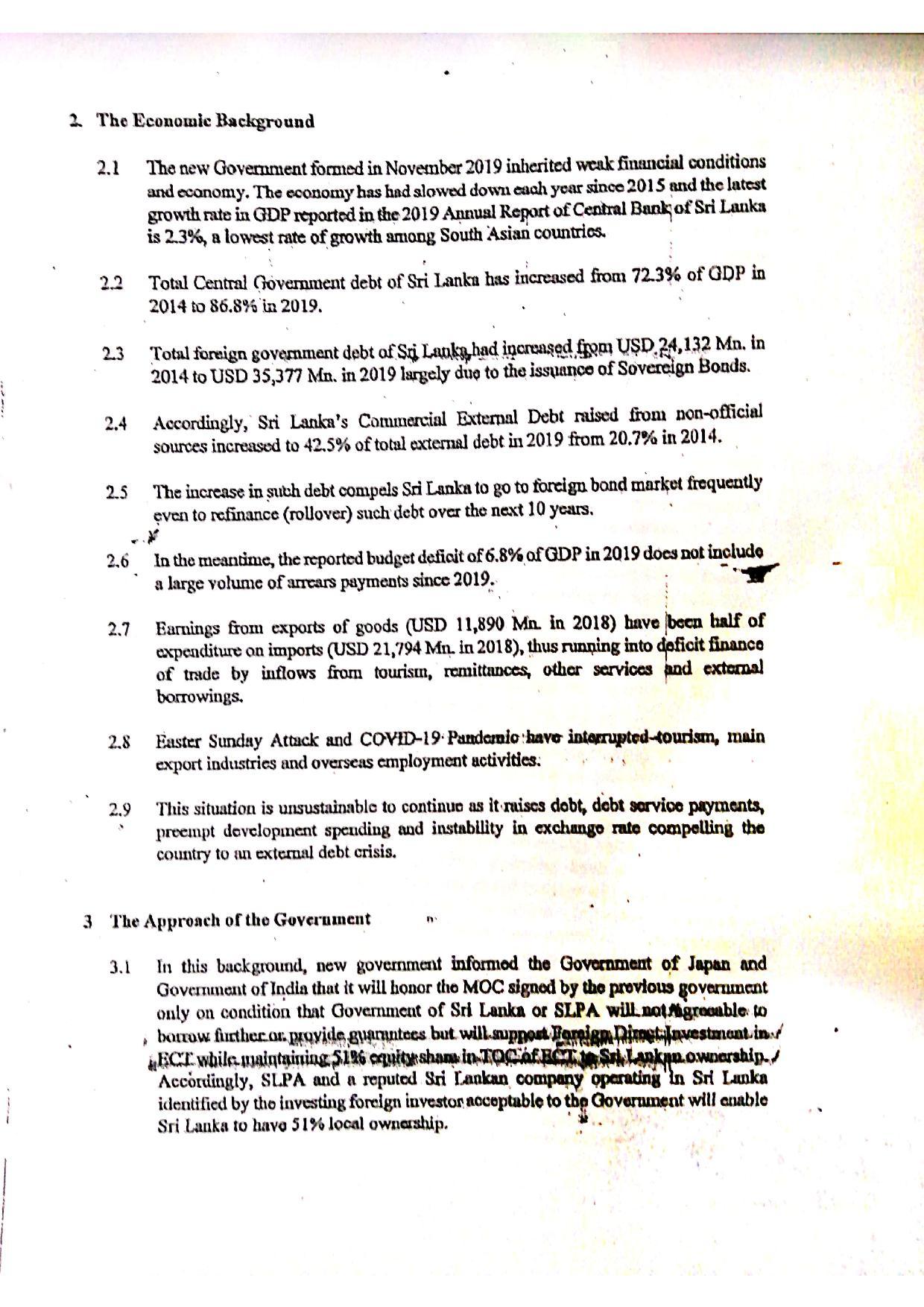 June 2020 Sri Lanka Cabinet Memo p.2