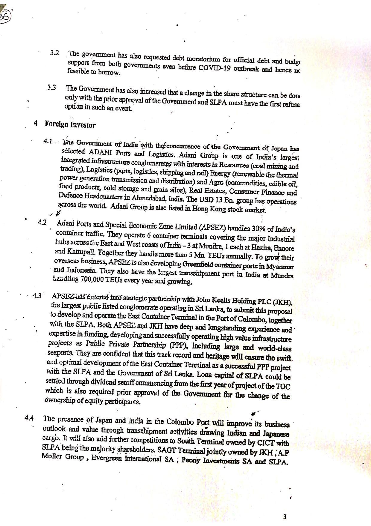 June 2020 Sri Lanka Cabinet Memo p.3