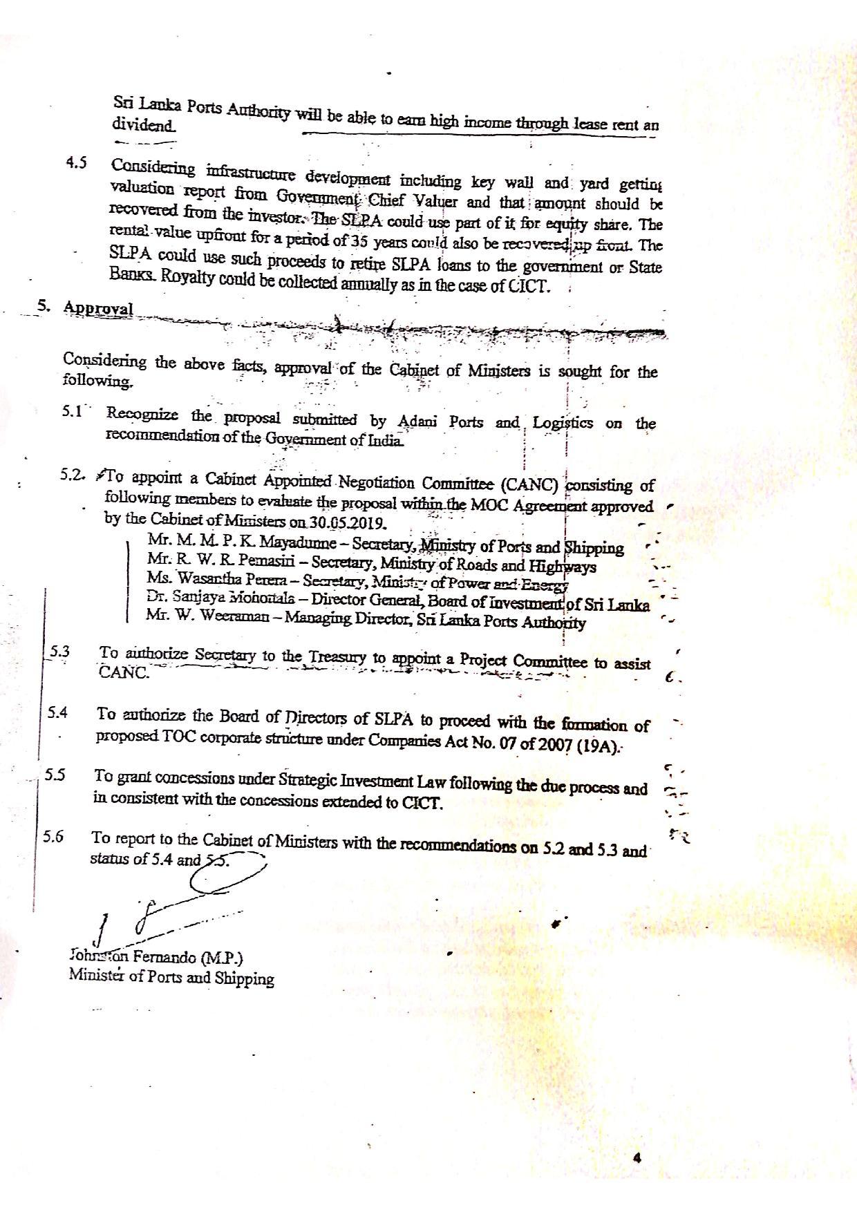 June 2020 Sri Lanka Cabinet Memo p.4