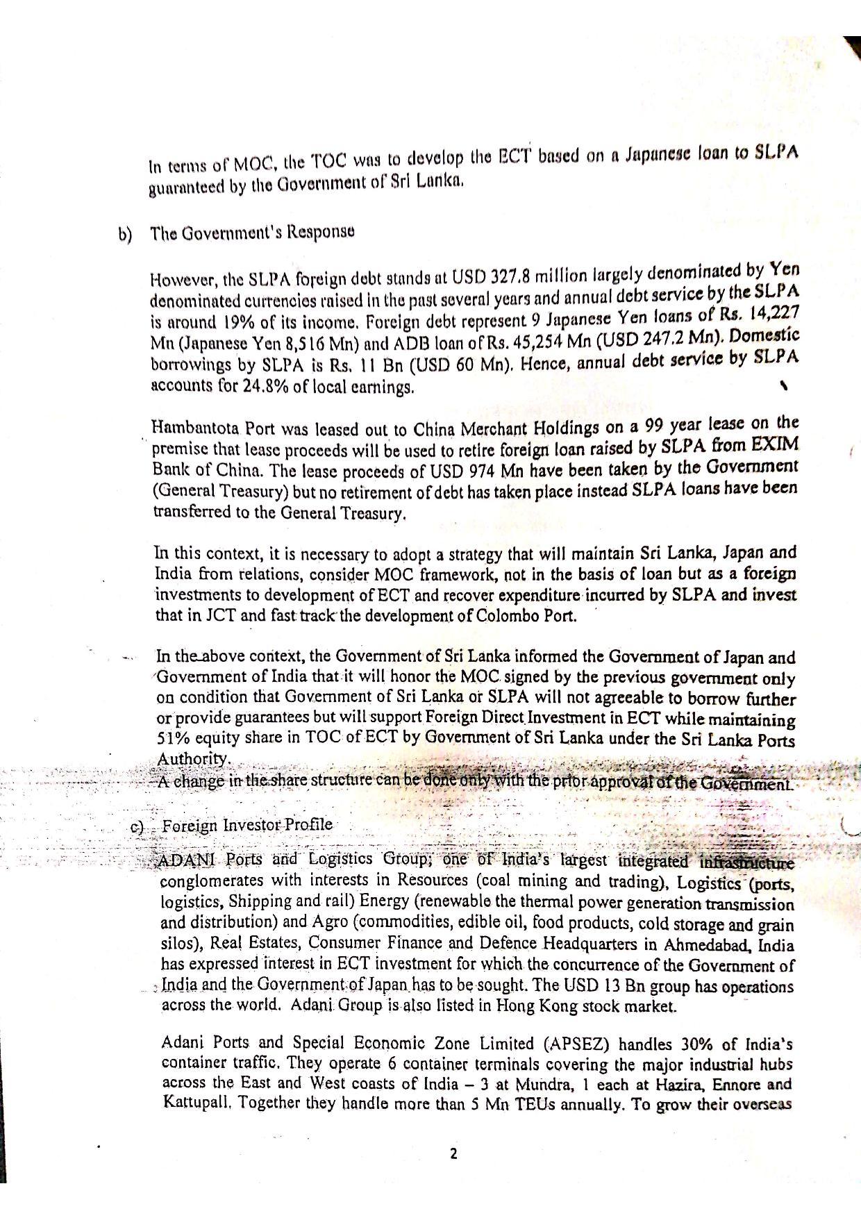 October 2020 Sri Lanka Cabinet Memo p.2-2