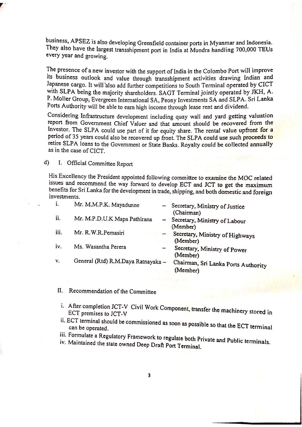 October 2020 Sri Lanka Cabinet Memo p.2-3