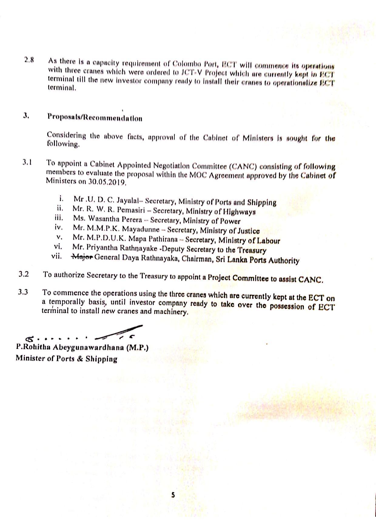 October 2020 Sri Lanka Cabinet Memo p.2-5