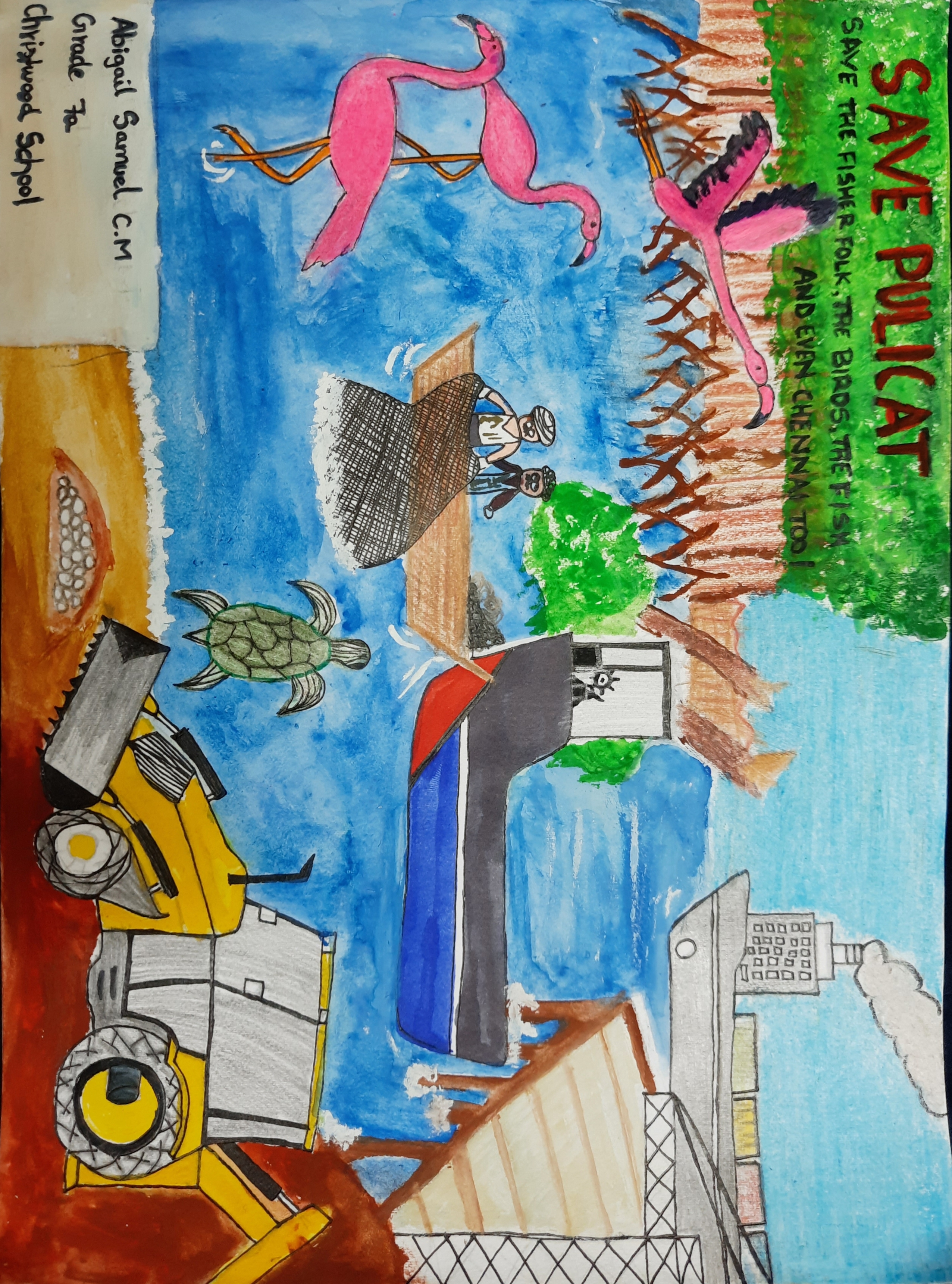 Depiction of Pulicat Lake, threatened by Adani, by Abigail Samuel, grade 7.