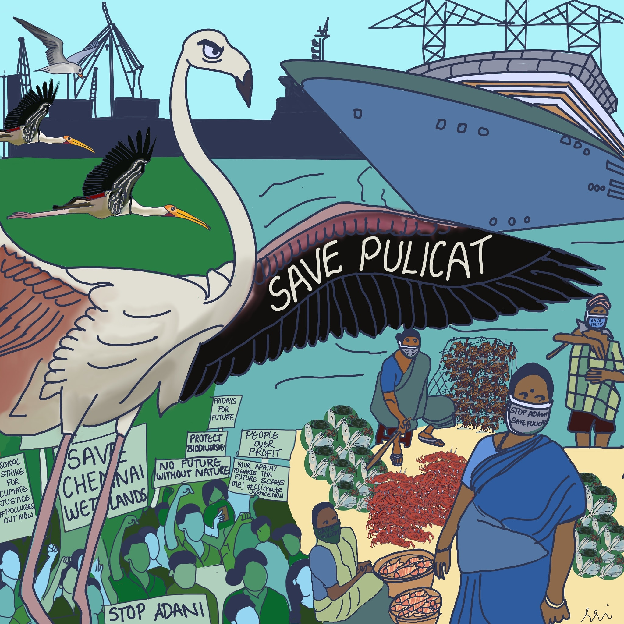 An 'art storm' has depicted Adani's threat to Lake Pulicat. Picture by Sriranjini Raman