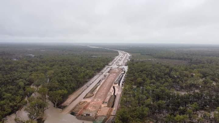 Photos show flooding of railway construction zone and sedimentation of streams