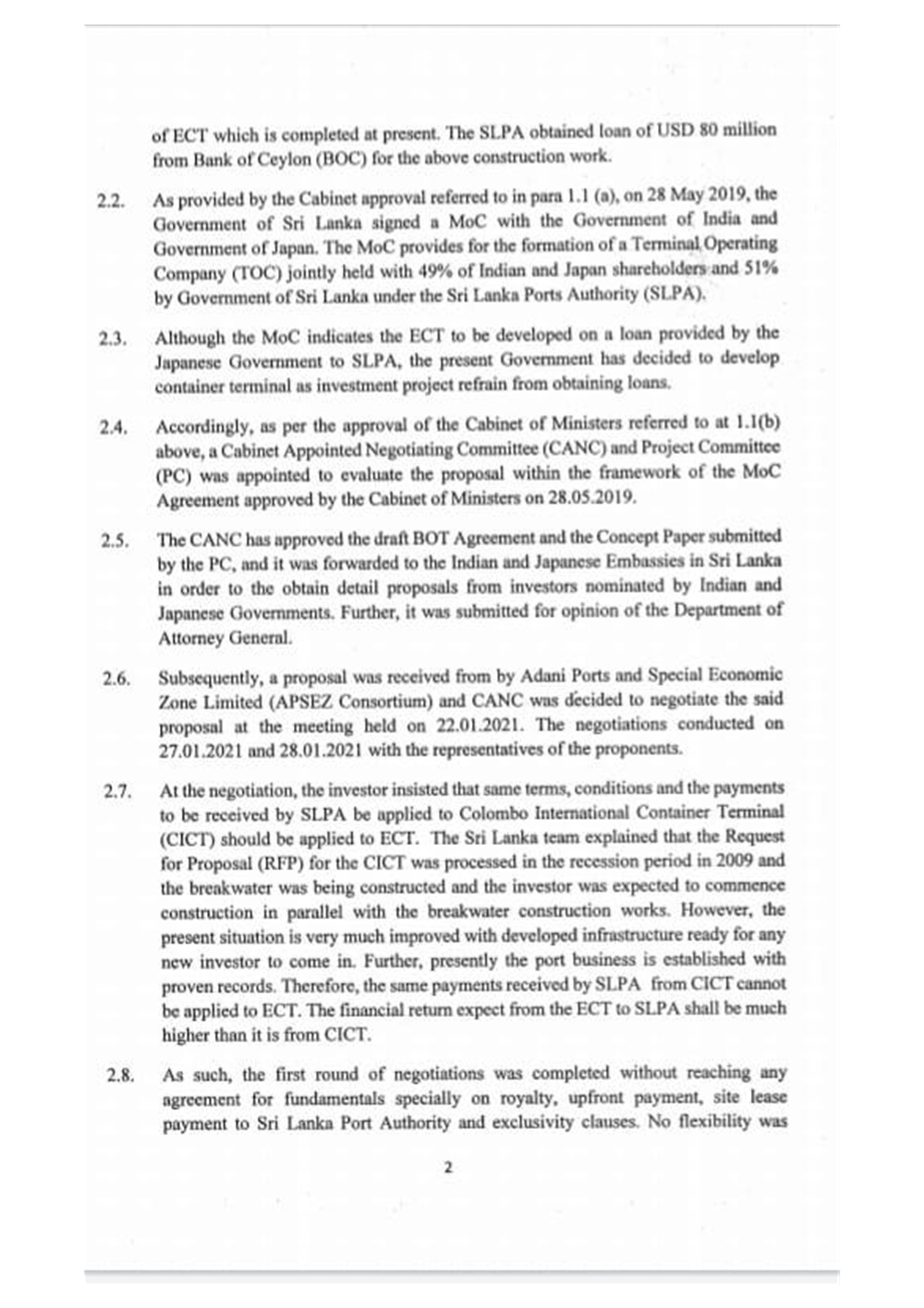 Sri Lankan Government Cabinet Memorandum 31 January 2021, p.2