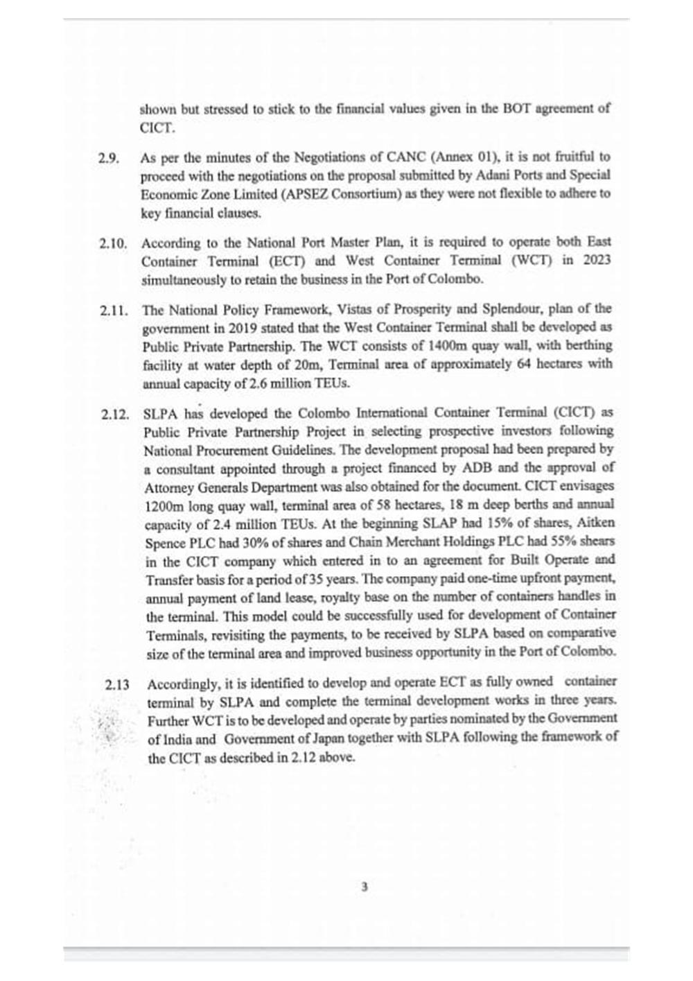 Sri Lankan Government Cabinet Memorandum 31 January 2021, p.3