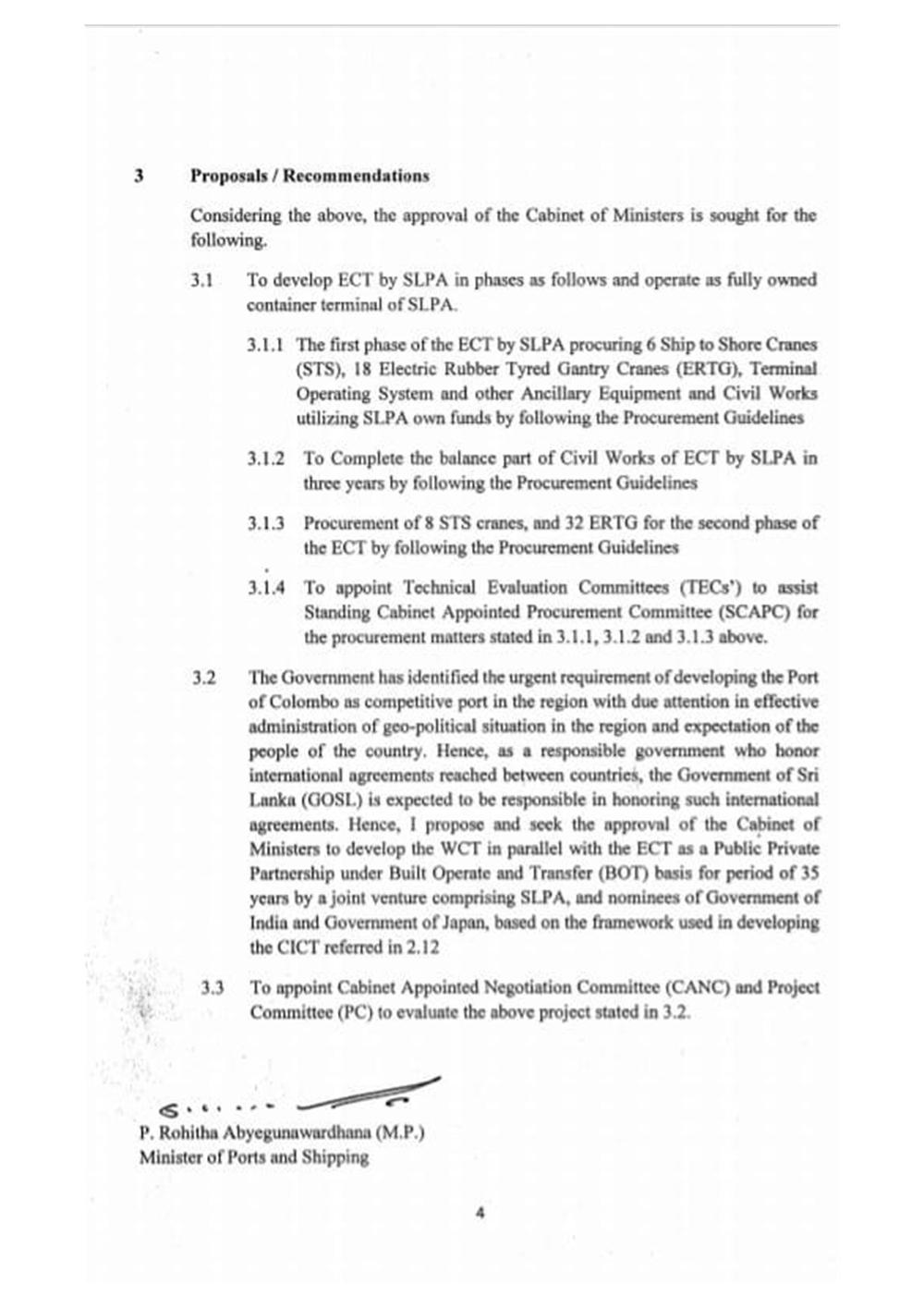 Sri Lankan Government Cabinet Memorandum 31 January 2021, p.4