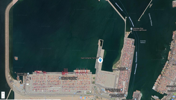 Colombo's East Container Terminal. Courtesy Google