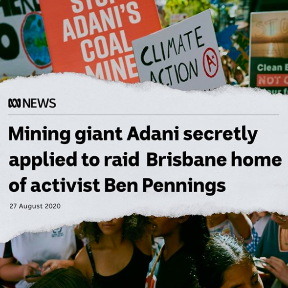 Adani secretly applied for permission to raid the family home of Ben Pennings