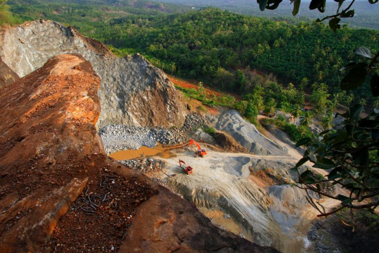 An example of a quarry in India's Kerala state where Adani wants to expand quarrying to build its Vizhinjam port. Photo courtesy Mongabay