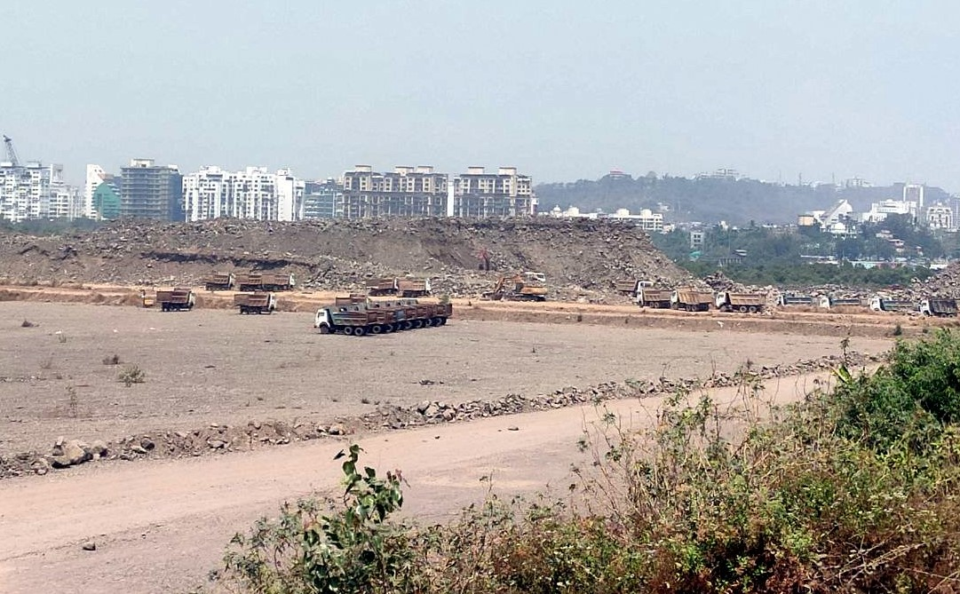 Large-scale clearing, levelling as part of Navi Mumbai international airport, to be majority-owned by Adani. Photo Shiva Thorat