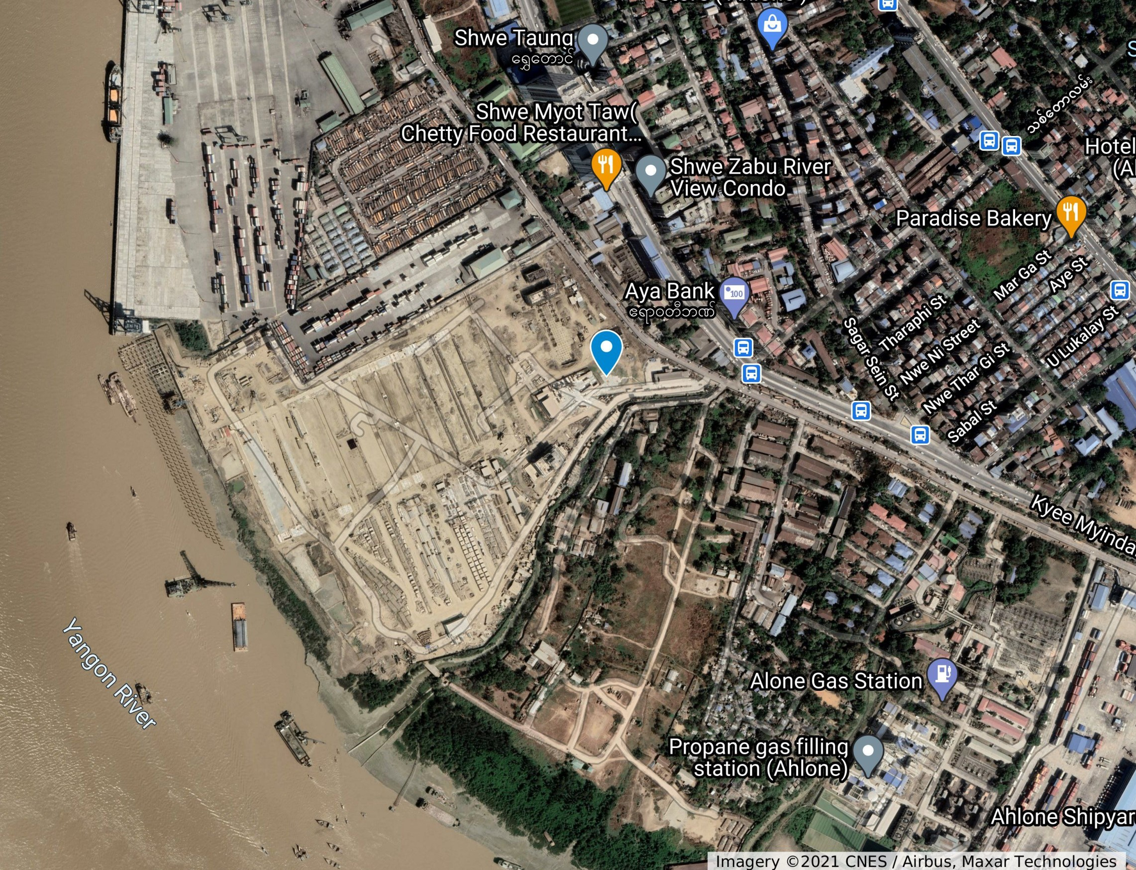Adani's port development, Yangon, on land owned by a company owned by the Myanmar military