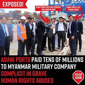Labels showing the Myanmar general with key Adani personnel